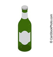 Green beer bottle isolated. Isometric alcohol. vector illustration
