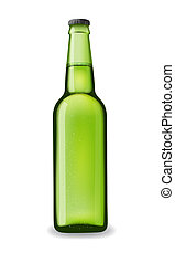 green beer bottle isolated with reflection