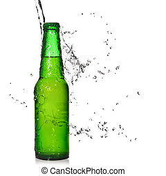 Green beer bottle with water splash isolated on white