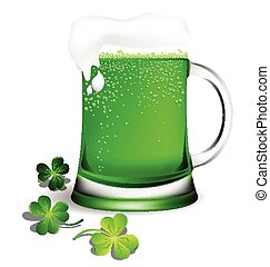 Green beer in glassware with Shamrock leaf for St. Patrick's Day card