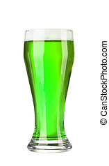 green beer isolated on white