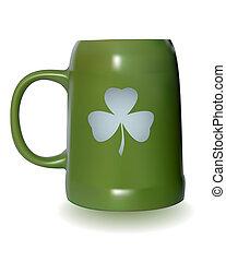 green beer mug with a clover leaf