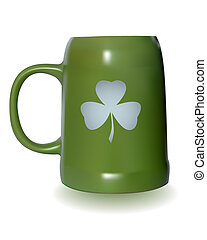 green beer mug with a clover leaf