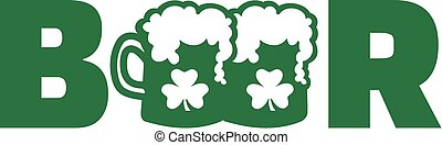 Green beer word with two beer mugs and clover
