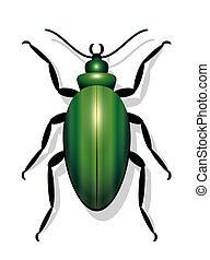Green Beetle - Green beetle - icon vector illustration on ...