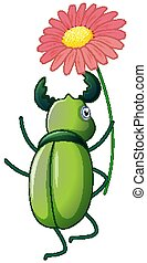 Green beetle holding flower on white background