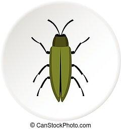 Green beetle icon circle - Green beetle icon in flat circle ...
