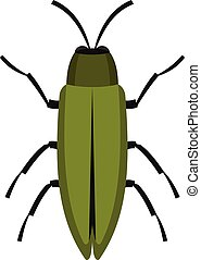 Green beetle icon, flat style