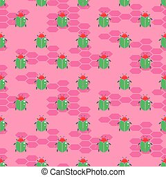 Green beetle on bright pink vector seamless pattern for ...