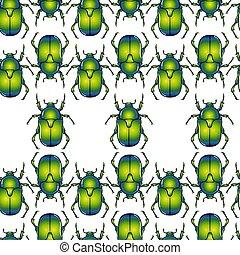 Green beetle seamless pattern - Cartoon colorful bright ...
