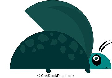 Green beetle, vector or color illustration. - A green beetle...