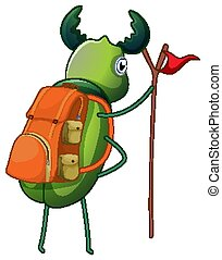 Green beetle with backpack and flag on white background ...
