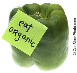 Green Bell Pepper with Eat Organic Message
