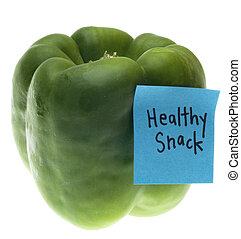 Green Bell Pepper with Healthy Snack Note Isolated on White...