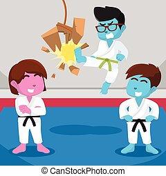 Green belt boy kicking board