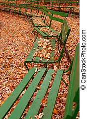Green Benches in Autumn