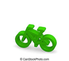 Green bicycle 3d rendering