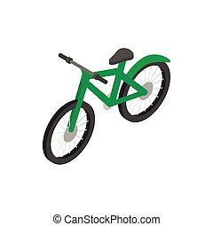 Green bicycle icon, isometric 3d style