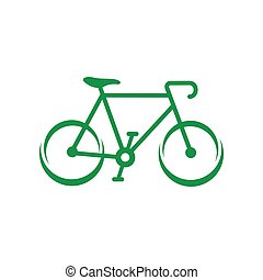 Green bicycle icon, simple style