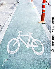 green Bicycle lane