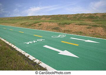 Green bicycle lane