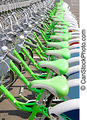 Green Bicycle rent station - Green Bicycle rent in a travel...