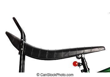 Green bicycle saddle