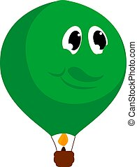 Green big balloon, illustration, vector on white background.