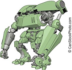 Green big robot, illustration, vector on white background.
