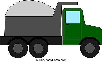 Green big truck, illustration, vector on white background.