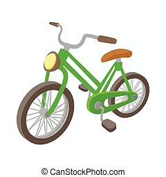 Green bike icon, cartoon style