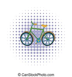 Green bike icon, comics style