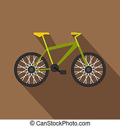 Green bike icon, flat style