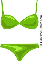 Green bikini, illustration, vector on white background.