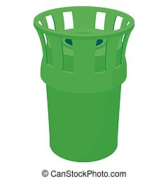 Green bin icon, cartoon style