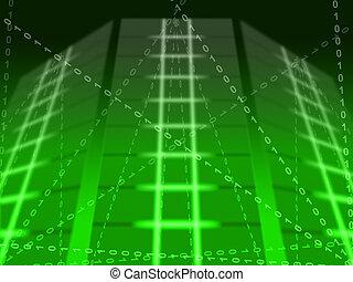 Green Binary Circuit Background Showing Matrix Or Computer Programming