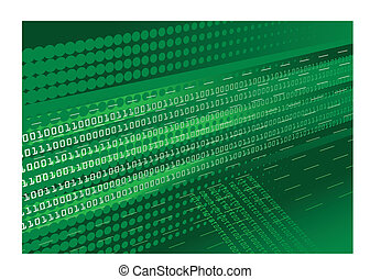 Green binary code background - Dark green binary code...