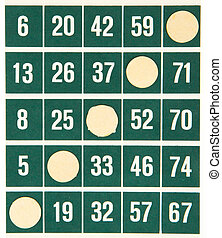 Green bingo card isolated