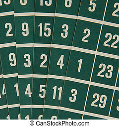Green bingo cards