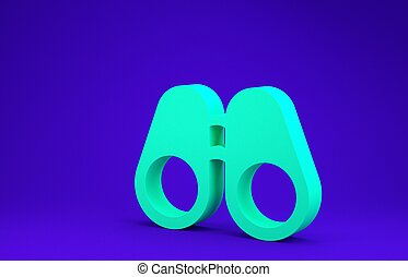 Green Binoculars icon isolated on blue background. Find software sign. Spy equipment symbol. Minimalism concept. 3d illustration 3D render