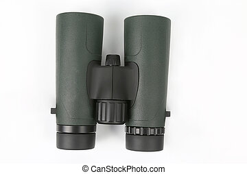 green binoculars on white background