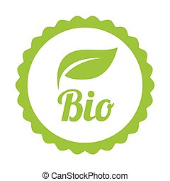 Green Bio icon or symbol isolated on white...