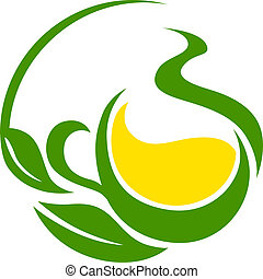 Conceptual icon or symbol with a green bio or eco design with swirling leaves cupping a yellow flower or pool of golden sunshine in a dynamic flowing effect depicting life and nature