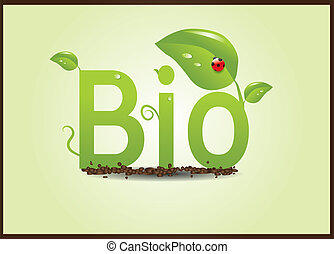 green bio plants with ladybird