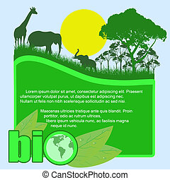 Green bio poster with trees and wild animals and space for...