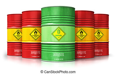 Green biofuel drum in front of red oil or gas barrels...