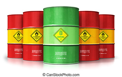 Green biofuel drum in front of red oil or gas barrels isolated on white background