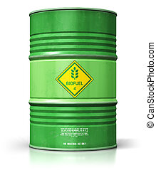 Green biofuel drum isolated on white background
