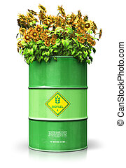 Green biofuel drum with sunflowers isolated on white...