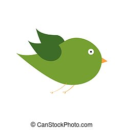 green bird color art vector illustration